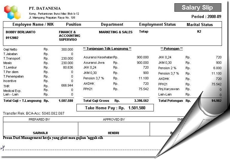 contoh contoh slip gaji karyawan perusahaan