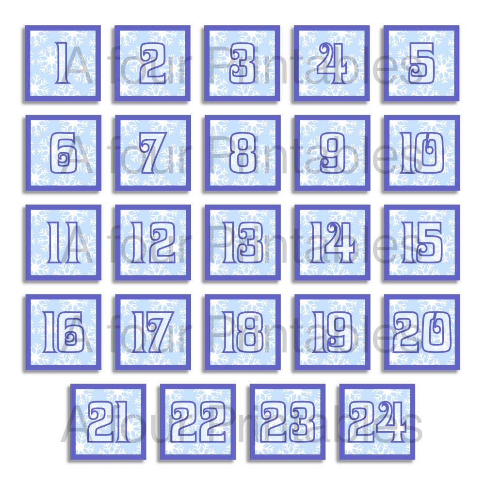 Christmas advent calendar printable labels, blue and white snowflakes numbers 1 - 24 from A four Printables.