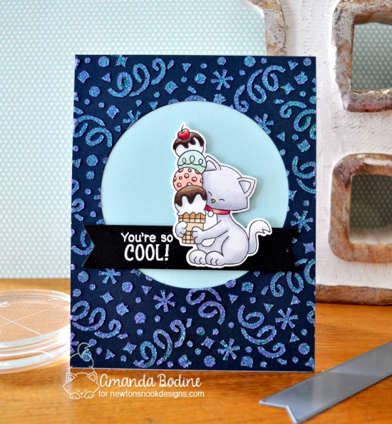 You're so Cool Ice Cream card by Amanda Bodine | Newton's Summer Treats stamp Set and Confetti Stencil by Newton's Nook Designs #newtonsnook #handmade