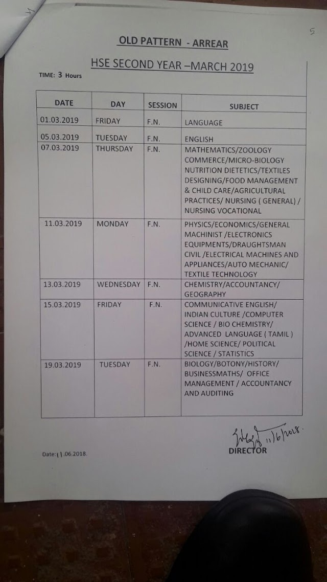 10th, 11th and 12th PUBLIC EXAM TIME TABLE RELEASED. MARCH 2019