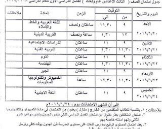 جدول امتحانات محافظة كفر الشيخ الترم الأول 2019