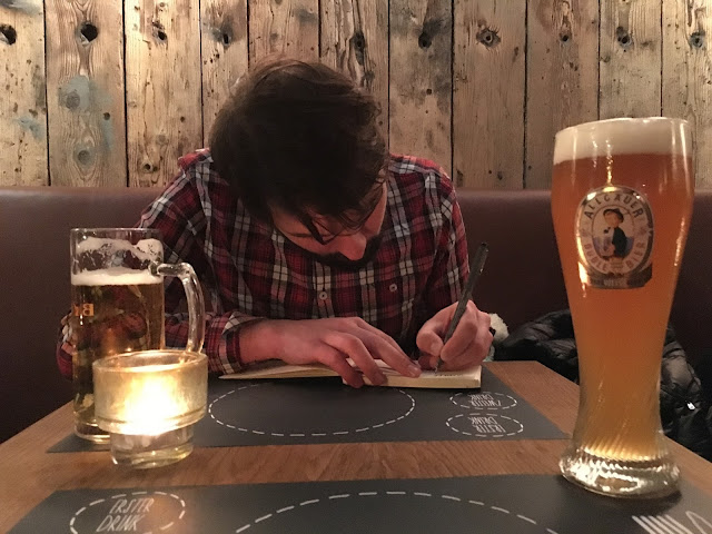 Creative doodling with a beer.