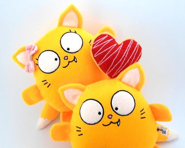 Pareja Gato Amarillo Niña peluche tierno juguete halloween kawaii suave regalo navidad decoracion bebe valentin cumpleaños dia guyuminos