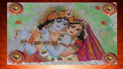 Radha Krishna Diwali Rangoli Design