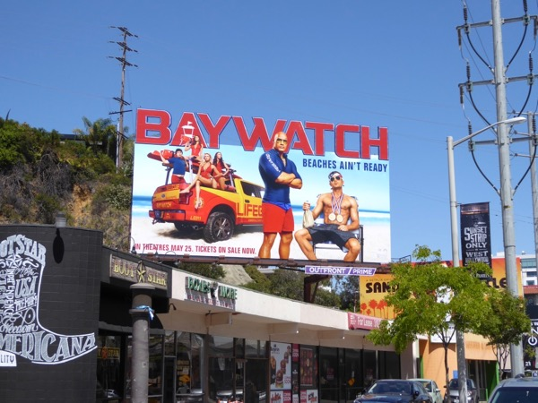 Baywatch movie billboard Sunset Strip