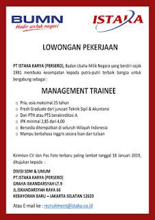 Lowongan BUMN Januari 2019 - PT Istaka Karya (Persero)