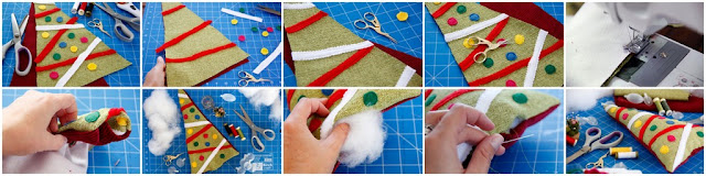 Step-by-step making a Christmas tree dog toy with stuffing and squeakers