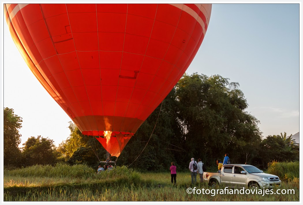 globos aerostáticos en Vang Vieng, Laos