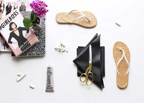 reciclar sandalias, tiras transversales, zapatos de verano, manualidades