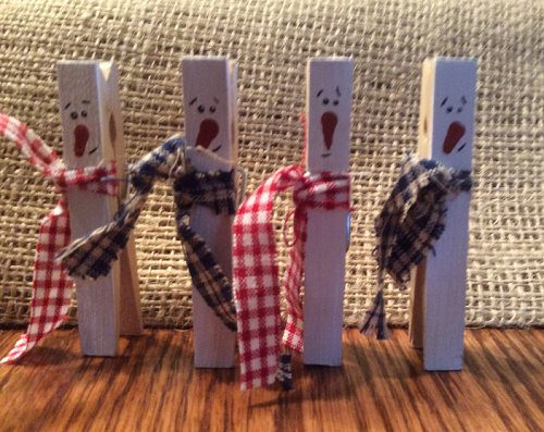 Painted Wood Clothespin Snowmen With Personality
