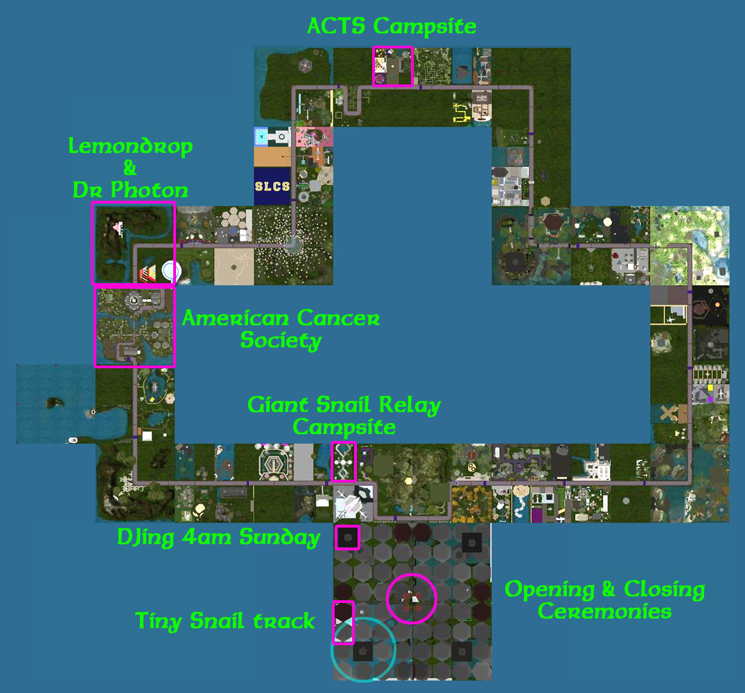 to the west of acts was fantasy faire to the south was purple tears now take a look at the sw quadrant of the sim here below is a closer look so