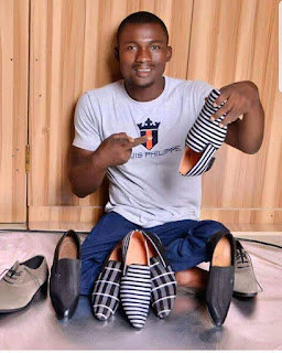 Photo: Meet David, crippled Nigerian man, who is a  professional shoe maker