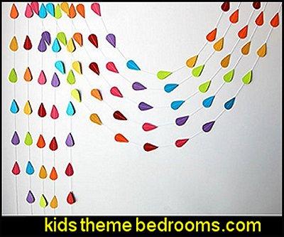 Rainbow Raindrop garland, Paper raindrops, Raindrop paper garland