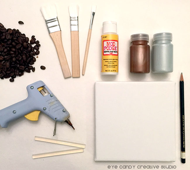 supplies need to make coffee bean art, paint, coffee beans, gluegun, canvas