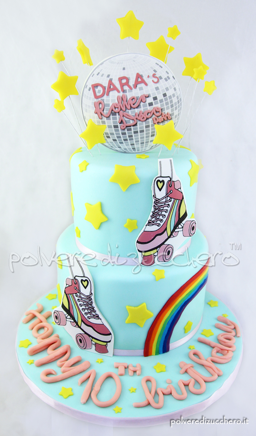 torta decorata cake design pasta di zucchero roller disco party pattini cake art polvere di zucchero
