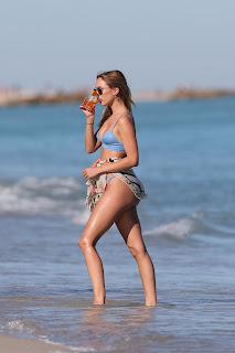 Kimberley Garner in Blue Bikini at a Beach in Miami