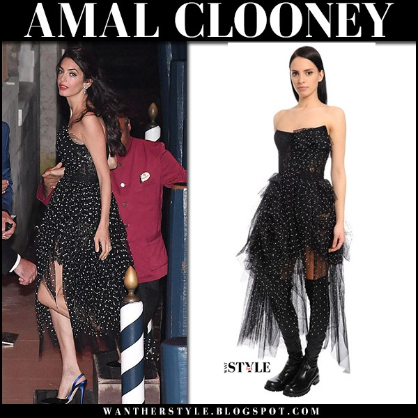 Amal Clooney in black polka dot tulle strapless dress at Venice Film Festival 2017 red carpet celebrity ermanno scervino