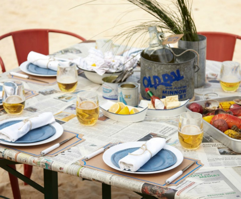 Coastal table set up for lobster steam party