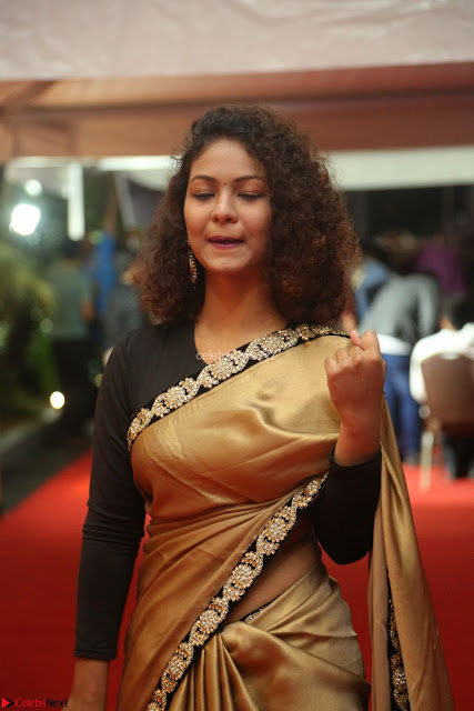 Aditi Myakal look super cute in saree at Mirchi Music Awards South 2017 ~  Exclusive Celebrities Galleries 003.JPG