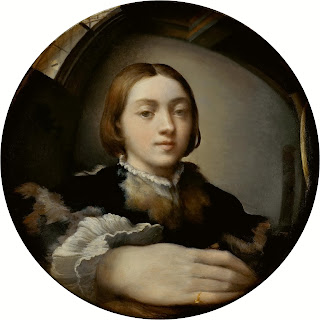 Parmigianino's Self-Portrait in a Convex Mirror, with which he announced himself in Rome in 1524