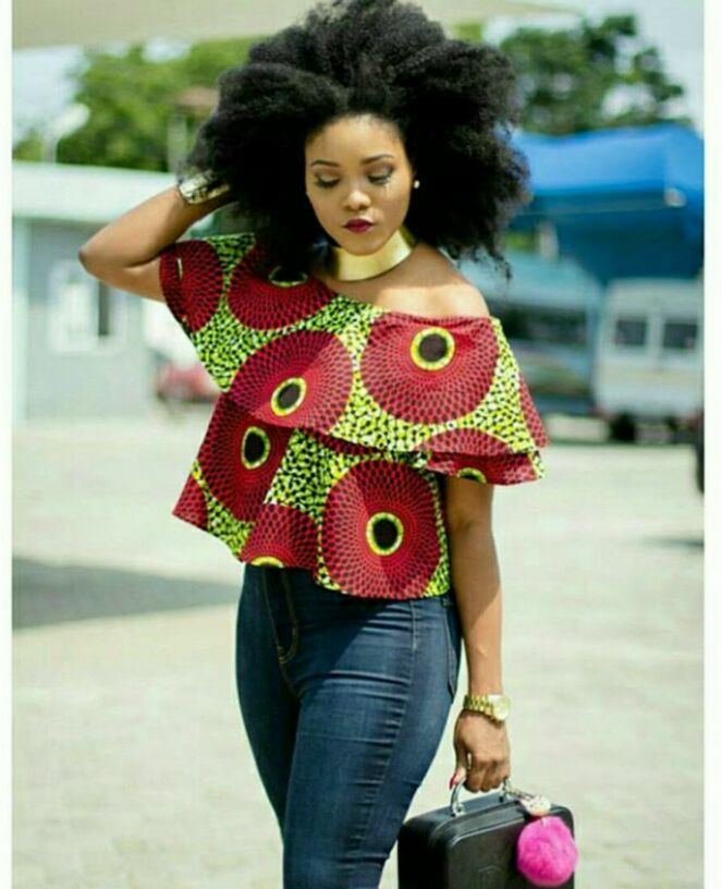 ankara top with dark jeans