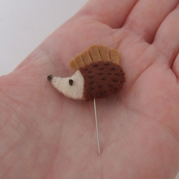 Mini felt sewing pin embroidered hedgehog animal