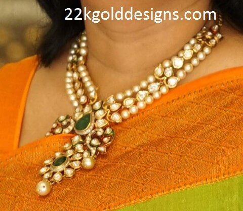 Emerald Polki Pearl Necklace