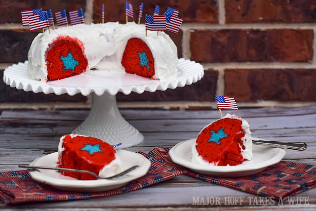 Red White and Blue Cake for Patriotic events. Hidden Star in Bundt cake is a real crowd pleaser!