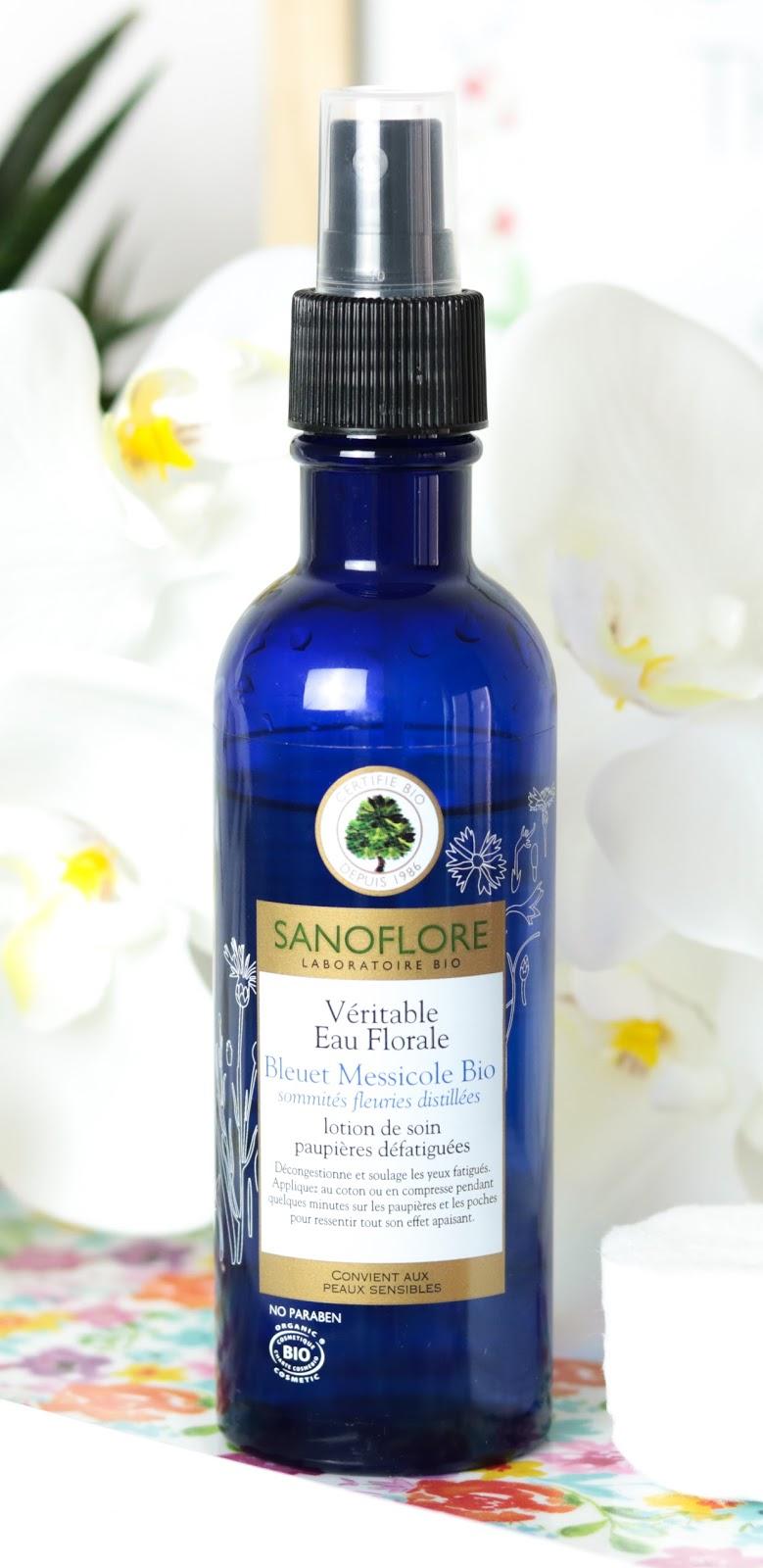 Véritable Eau Florale de Bleuet Messicole Bio de Sanoflore,  décongestionner yeux. Solution Yeux gonflés.