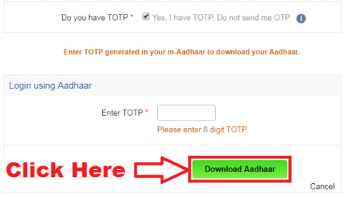 aadhaar download by totp