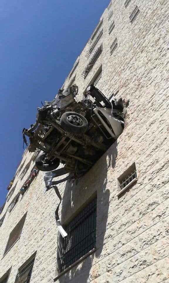 بالصور شاهد ::  حادث سير ذاتي في خلة الايمان بمدينة نابلس بالضفة الغربية