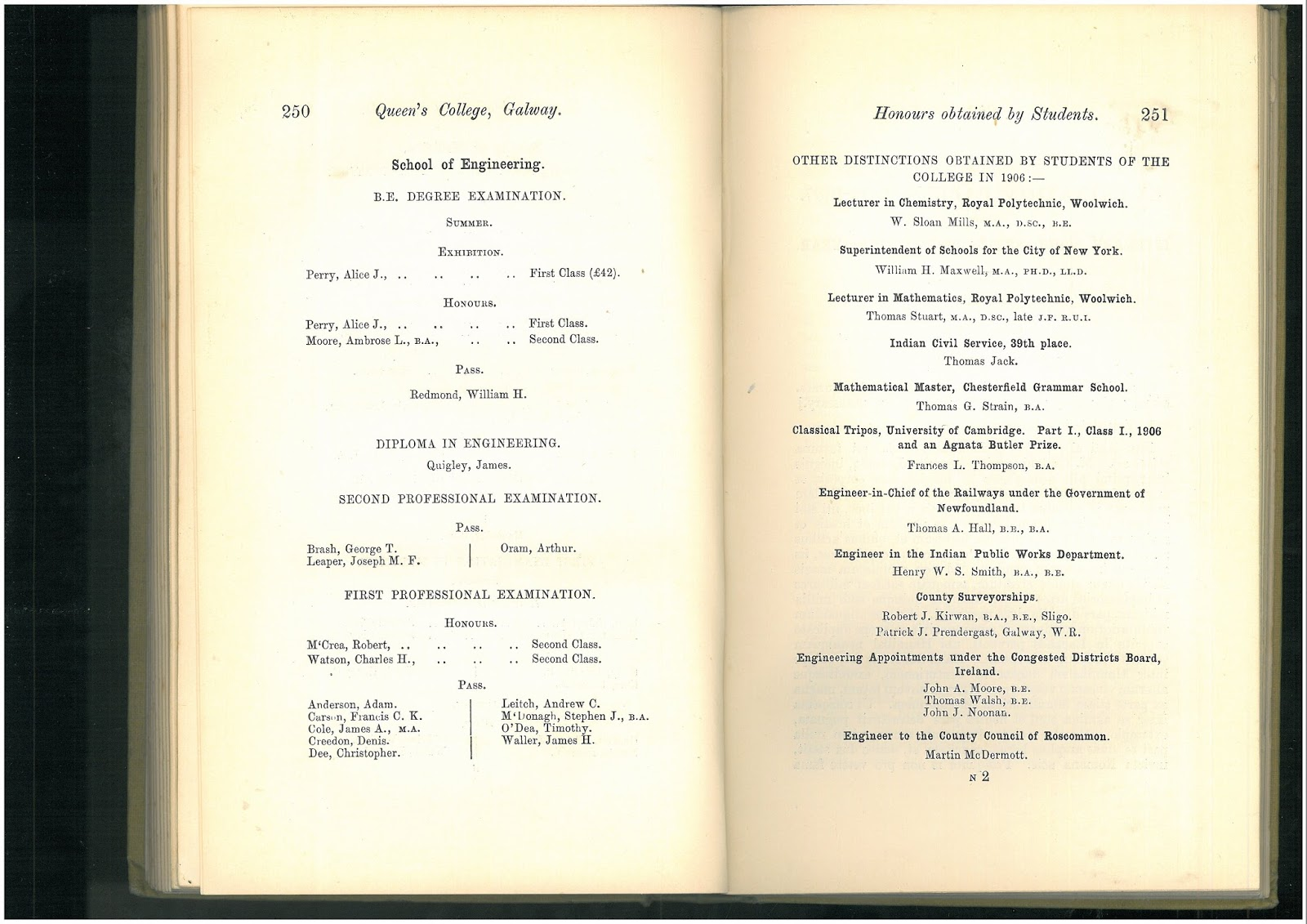 the hardiblog nui galway graduate first w engineering special collections james hardiman library queen s college galway calendar 1906 1907 be in engineering 1st class honours degree