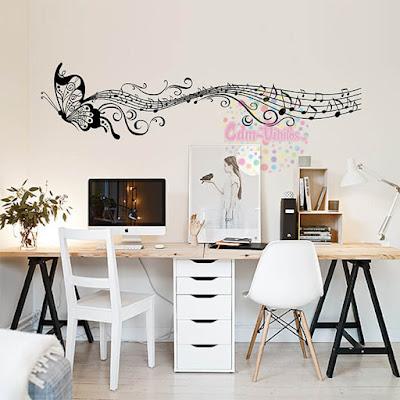 vinilo decorativo para pared mariposa pentagrama musical w
