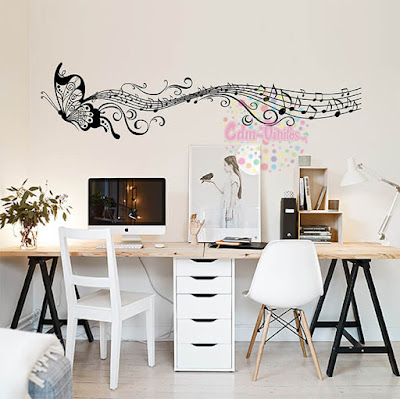 vinilo decorativo para pared mariposa pentagrama musical