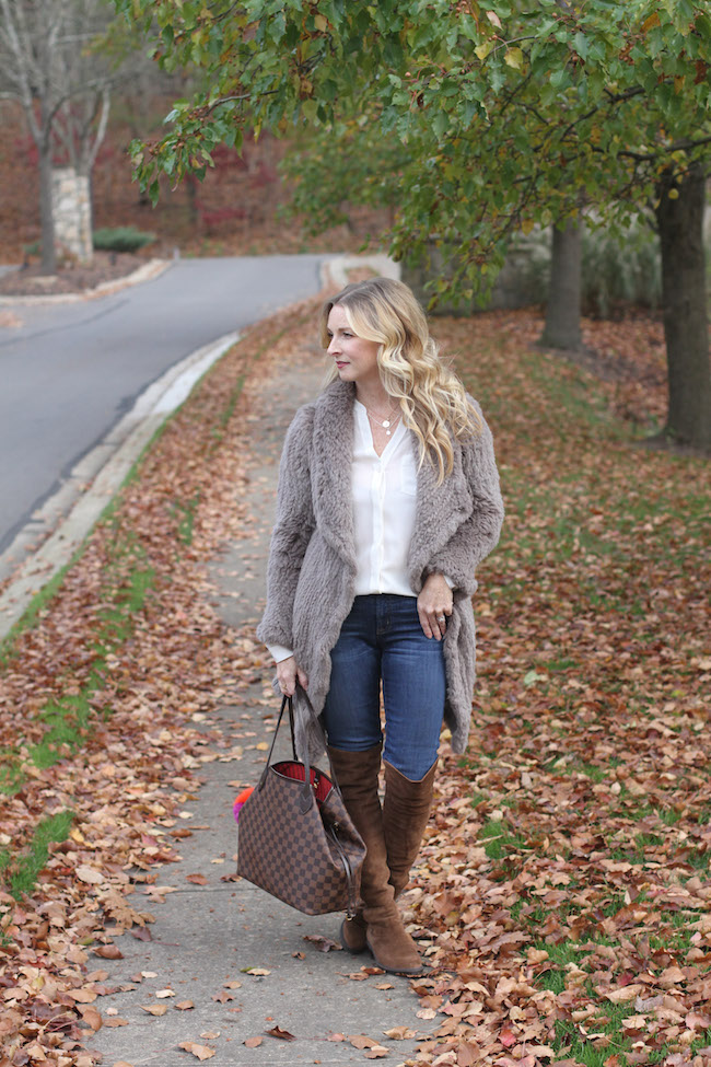 june fur, trouve silk top, jcrew jeans, stuart weitzman boots