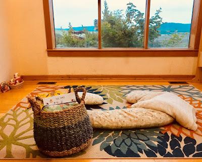 Montessori Summer Morning Basket on living room floor at dawn