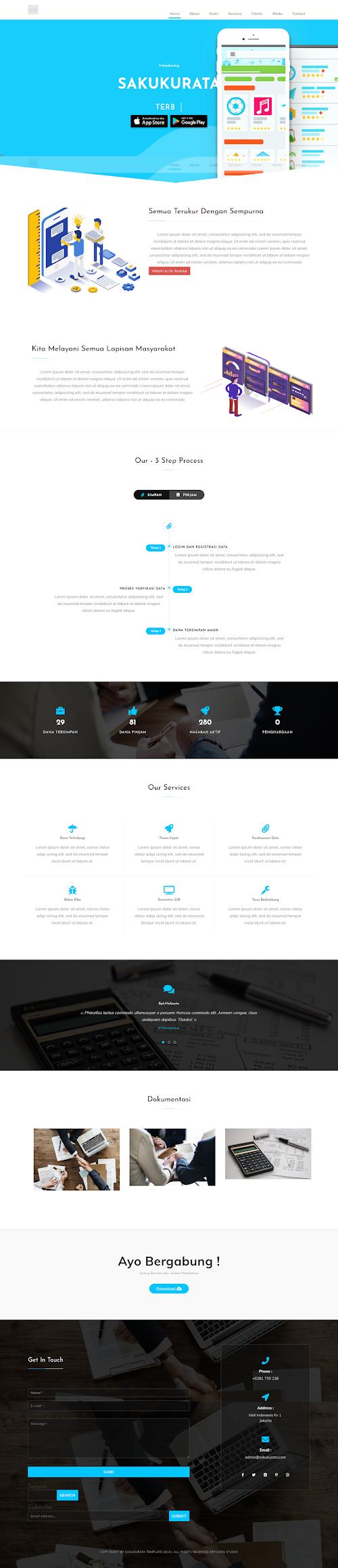 UKM Blogger Landing page Template : Sakukurata Fintech Style