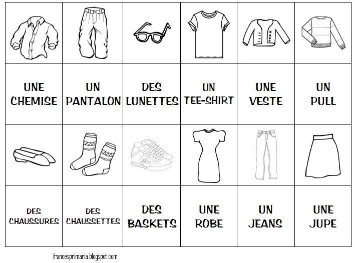 Français à l'école: Jeu de memoire: les vêtements