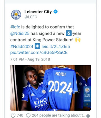 OFFICIAL: Wilfred Ndidi Signs New Six-Year Contract with Leciester City - wittysports