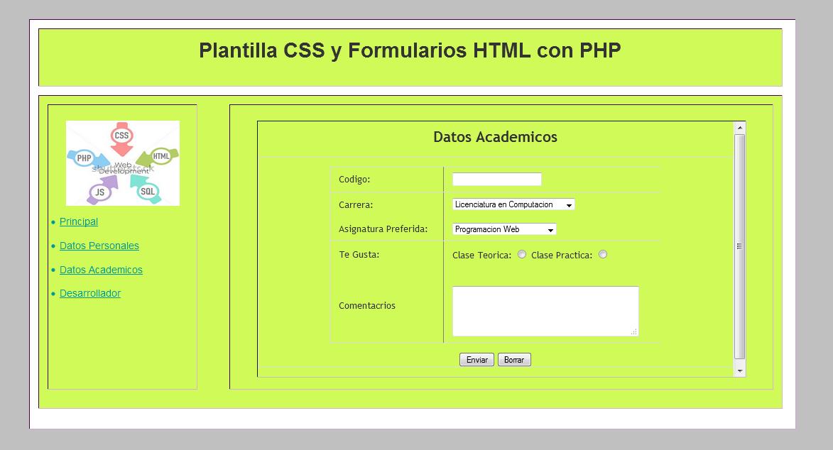 Desarrollo de Plantilla Web con CSS, Formularios HTML y PHP - Diseño ...