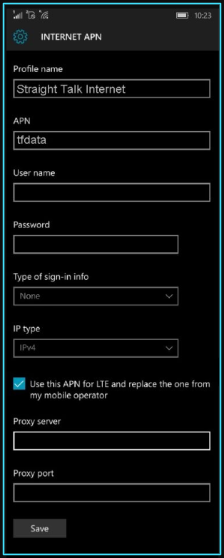 New Straight Talk apn settings windows phone