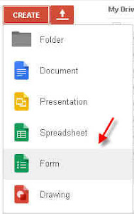 Form creation menu option in Google drive