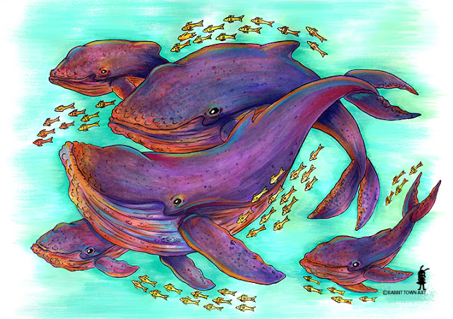 I felt like drawing some humpback whales so here they are!  done by me, Marta Tesoro aka Rabbit Town Art