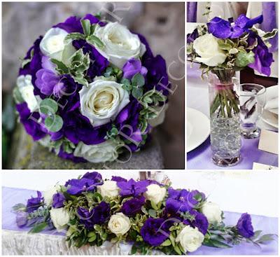 Lila esküvő virágok dekoráció menyasszonyi csokor, asztaldísz