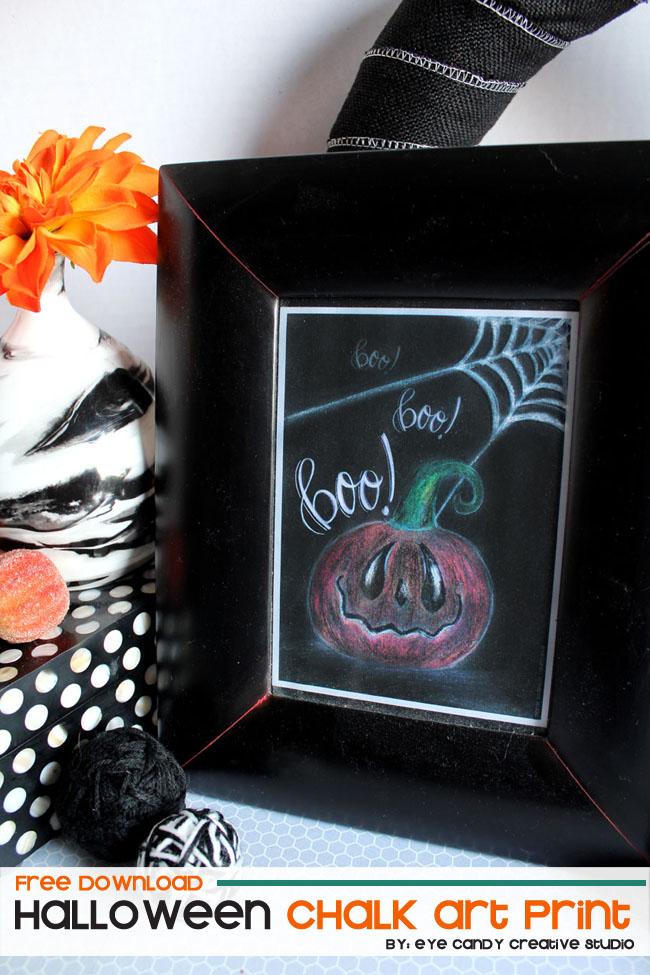 halloween freebie, chalk art, hand lettering, hand illustration, halloween art