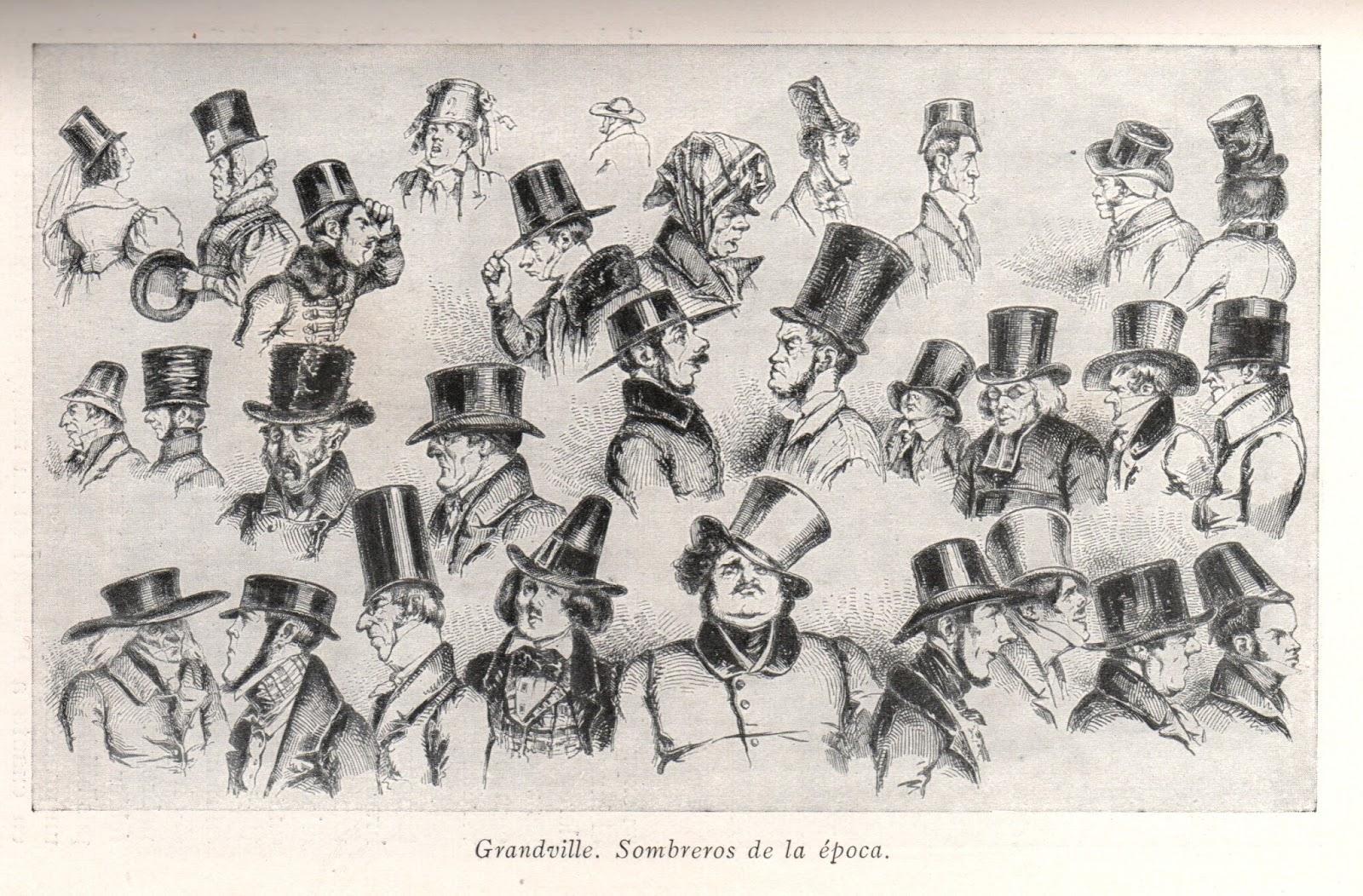 Sombreros de copa. En este grabado se pueden apreciar la gran variedad de  formas y tamaños que adoptó el sombrero de copa. Un sombrero totalmente  popular. 653013dfbb4
