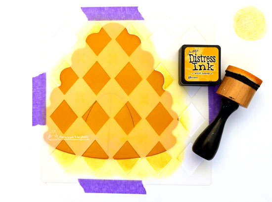 To Bee or Not To Bee Blog Hop! | Honey Bee Hive Card by Larissa Heskett | Newton's Costume Party Stamp Set and  Argyle Stencil Set by Newton's Nook Designs #newtonsnook #handmade