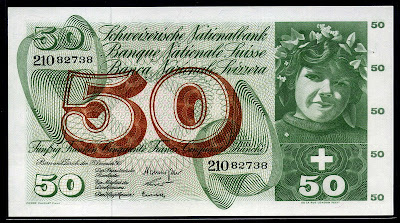 Switzerland 50 Swiss Francs banknote