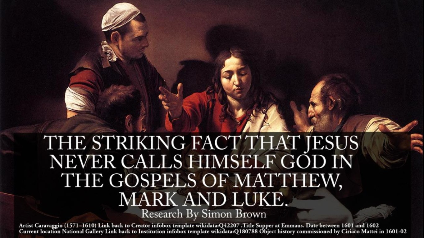 The striking fact that Jesus never calls himself GOD, in the gospels of Matthew, Mark or Luke.