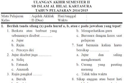 Soal UKK/PAT Aqidah Akhlak Kls 2 MI Semester 2 Kurikulum 2013